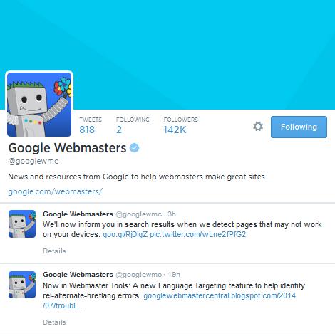 GoogleWebmasterSEOTwitter
