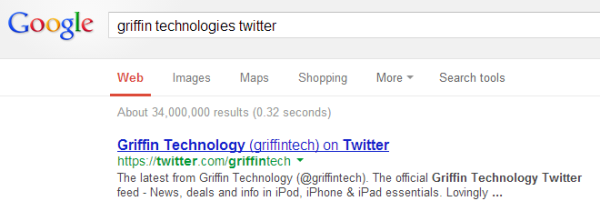 Example of Twitter Link Indexed in Google