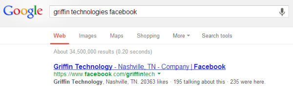 Example of Facebook Link Indexed in Google