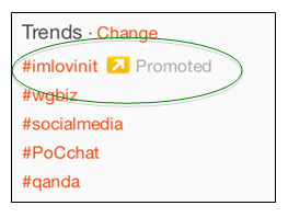Example of promoted hashtags on Twitter