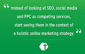 Instead of looking at SEO, social media, and PPC as competing services, start seeing them in the context of a holisitic online marketing strategy | Internet Marketing in 2013: 5 Questions Answered