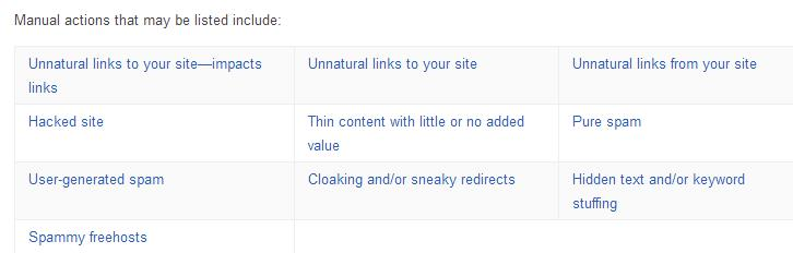 Types of Google Manual Actions   How To Determine If You've Been Hit By Google Penalty
